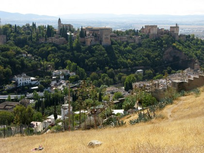 Alhambra in Granada, view from the Sacromonte caves