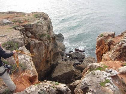 Cascais climbing Portugal (repelling)