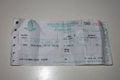 Den Chai to Uttaradit train ticket