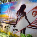 El Salvador street art: surfing (Respect the locals)