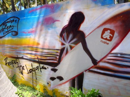 El Salvador street art: surfing (Respect the locals)