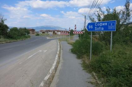 Hitchhiking Macedonia Bulgaria Sofia sign