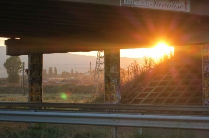 Hitchhiking Macedonia Bulgaria bridge sunset
