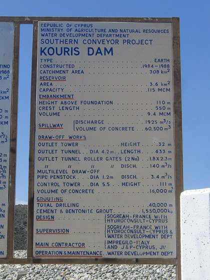 Kouris dam statistics