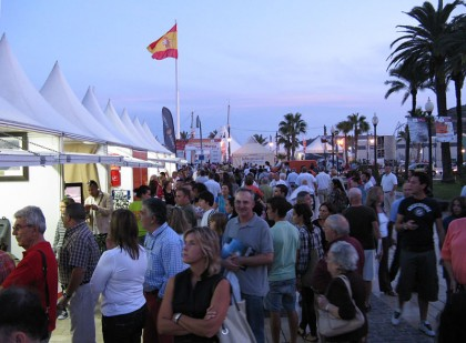 Ocean of people near the harbor in Cartagena, at the Sailing MedCup Circuit