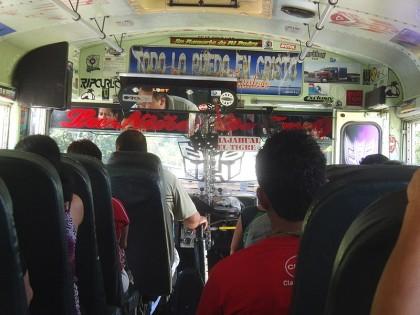 Chicken bus in El Salvador with surfing decals