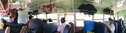 Chicken bus: inside panorama