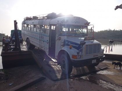 Chicken bus river crossing