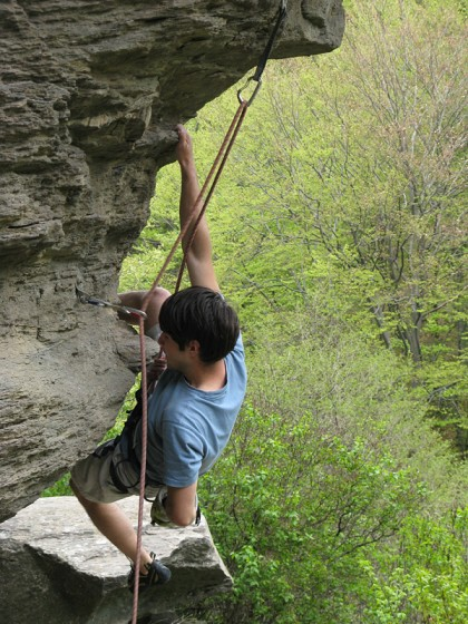 Climber with hand chalk