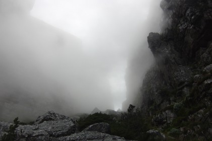 Cloudy mountain gorge