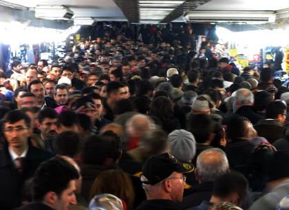 Crowded underground walkway near Galata Bridge