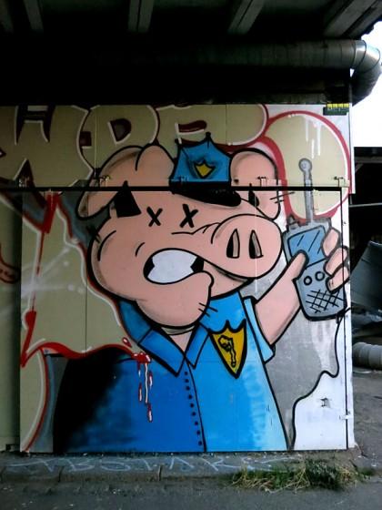 Street Art in Copenhagen, Denmark (10) Police