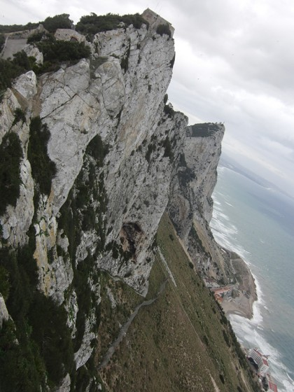 Gibraltar coast line with mountains, tilted camera