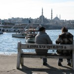 "Old couple looking out over the ""Golden horn"""