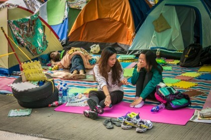 Hong Kong protest - students tents
