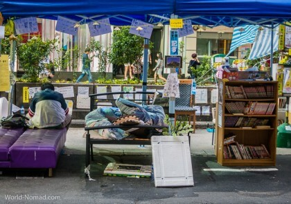Hong Kong protest - books beds