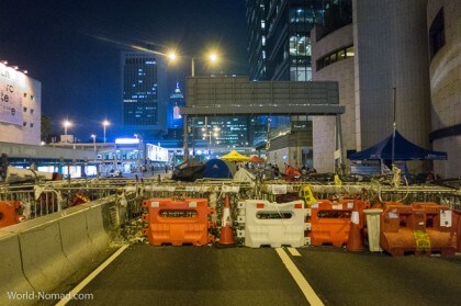 Hong Kong protest - night blockade