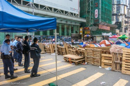 Hong Kong protest - police blockade