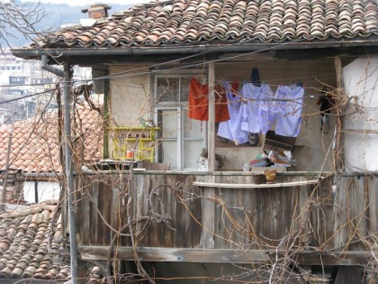 Balcony with clothes in Veliko Ternovo