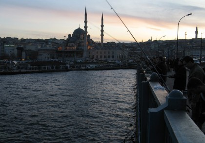 Fishers on bridge in Istanbul