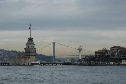 Kiz Kulesi Leanders Tower - symbol of Istanbul - with light house and bridge in the background