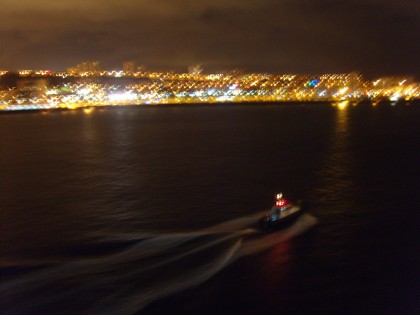 Las Palmas de Gran Canaria by night with ferry