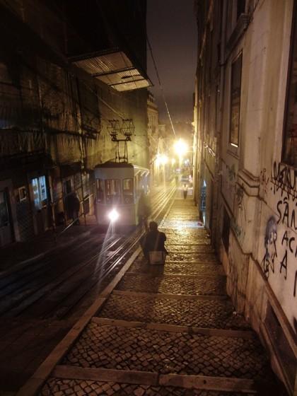 Lisbon tram in midnight, Portugal