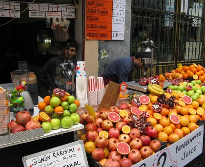 Man selling grenade apples