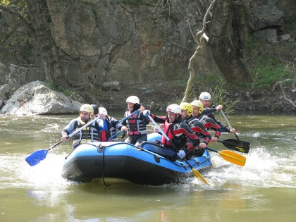 Rafters paddling
