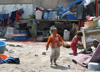 romani kids playing in backyard