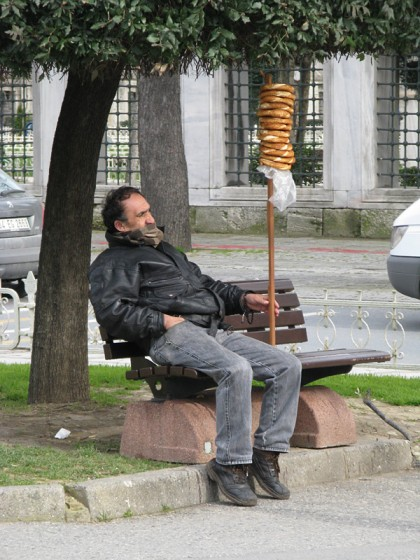 Man with simit bread in the Sultan Ahmed area