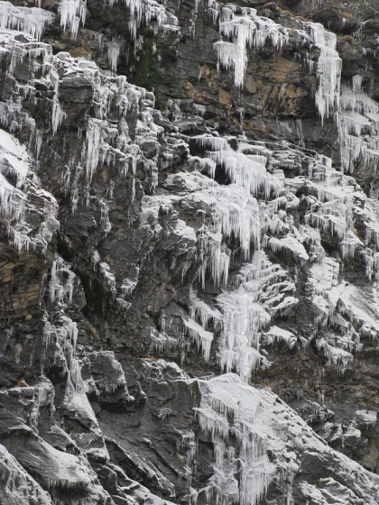 Ice on the mountain wall