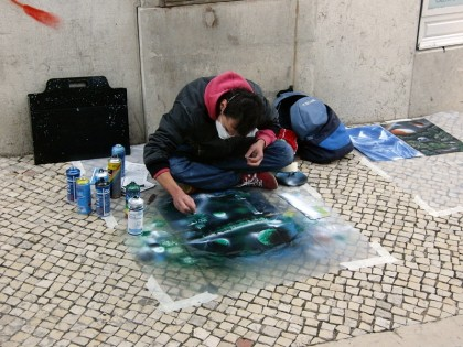 Street artist; spray painter (Lisbon, Portugal)