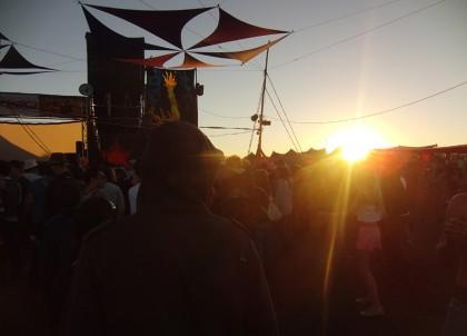Sunrise at festival dance floor