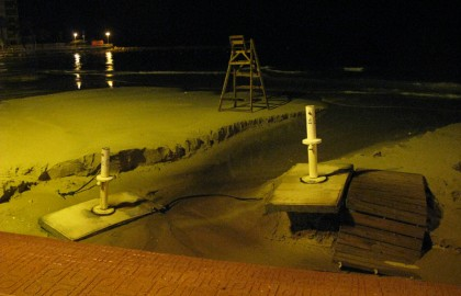 Playa del cura flooded in the night