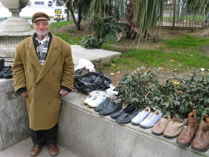 Turkish man selling shoes on the street