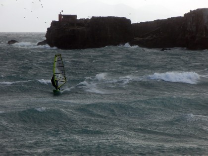 Windsurfing in storm, Tarifa