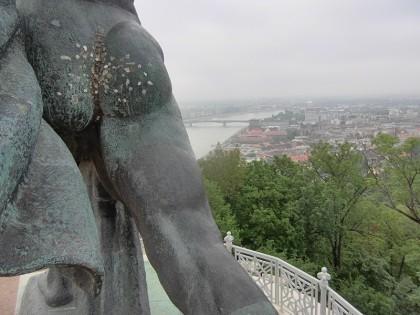 Gellert Hill statue with ass full of chewing gums