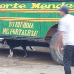 Chicken bus in Nicaragua, dog & message