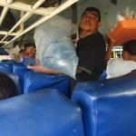 Chicken bus in Nicaragua with food- and drink sellers