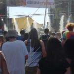 Dancefloor spraying water steam on dancers