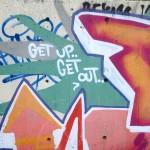 Street Art in Copenhagen, Denmark (1) Get up – Get out