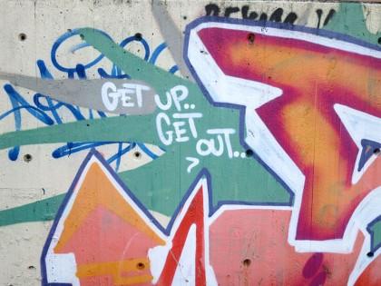 Street Art in Copenhagen, Denmark (1) Get up - Get out