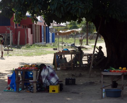 Fruit stands under tree shadow