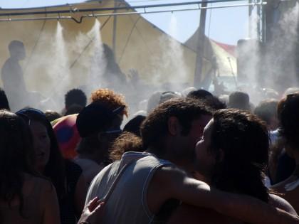 Happy dancers in dance floor steam