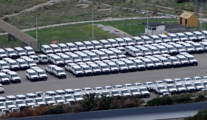 Identical cars on parking lot, Gibraltar
