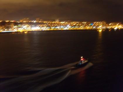 Las Palmas de Gran Canaria by night with ferry