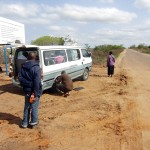 Minibus 4-wheel  drive punctured