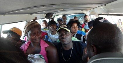 Mozambique packed/crowded minibus taxi