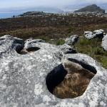 Water basins on mountain rock